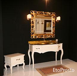 Золотые столешница, раковина и зеркало